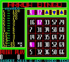 In game image of Arrow Bingo on the Arcade.