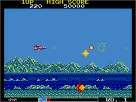In game image of Astro Flash on the Arcade.