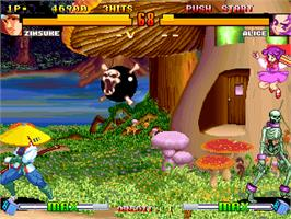 In game image of Asura Buster - Eternal Warriors on the Arcade.