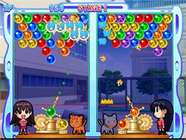 In game image of Azumanga Daioh Puzzle Bobble on the Arcade.