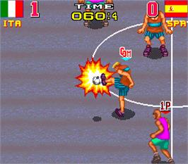 In game image of Back Street Soccer on the Arcade.
