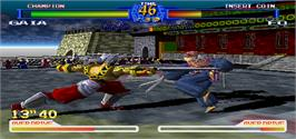 In game image of Battle Arena Toshinden 2 on the Arcade.