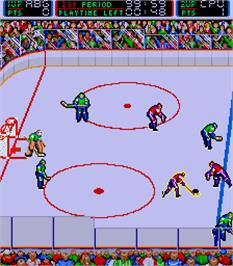 In game image of Blades of Steel on the Arcade.