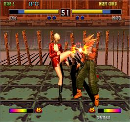 In game image of Bloody Roar 2 on the Arcade.