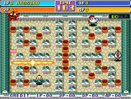 In game image of Bomber Man World / New Dyna Blaster - Global Quest on the Arcade.