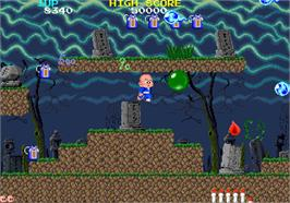 In game image of Bonze Adventure on the Arcade.