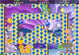 In game image of Bubble Bobble II on the Arcade.