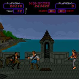In game image of Buccaneers on the Arcade.