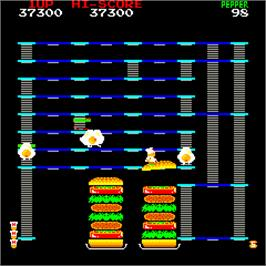 In game image of Burger Time on the Arcade.