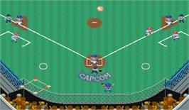 In game image of Capcom Baseball on the Arcade.