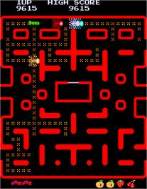 In game image of Caterpillar Pacman Hack on the Arcade.