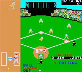 In game image of Champion Base Ball on the Arcade.