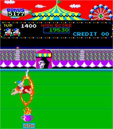 In game image of Circus Charlie on the Arcade.