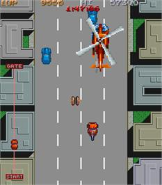 In game image of City Bomber on the Arcade.