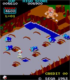 In game image of Congo Bongo on the Arcade.