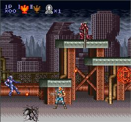 In game image of Contra 3: The Alien Wars on the Arcade.