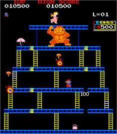 In game image of Crazy Kong Part II on the Arcade.