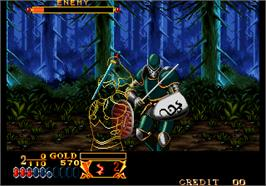 In game image of Crossed Swords on the Arcade.