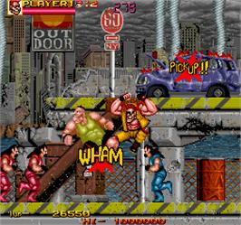 In game image of Crude Buster on the Arcade.