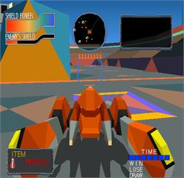 In game image of Cyber Sled on the Arcade.