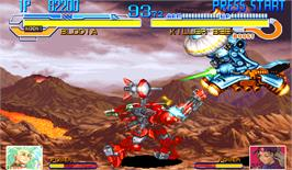 In game image of Cyberbots: Fullmetal Madness on the Arcade.