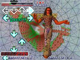 In game image of Dance Dance Revolution 2nd Mix on the Arcade.