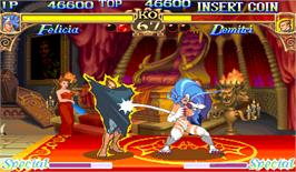 In game image of Darkstalkers: The Night Warriors on the Arcade.