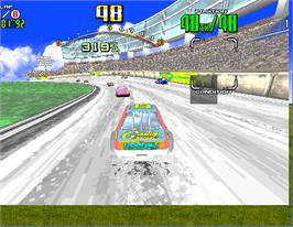 In game image of Daytona USA Deluxe '93 on the Arcade.