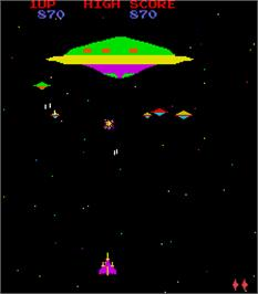 In game image of Defend the Terra Attack on the Red UFO on the Arcade.