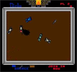 In game image of Demolition Derby on the Arcade.