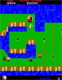 In game image of Dig Dug II on the Arcade.
