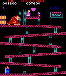 In game image of Donkey Kong on the Arcade.