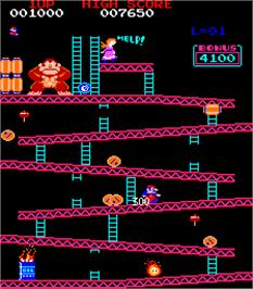 In game image of Donkey Kong Foundry on the Arcade.