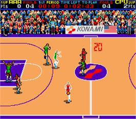 In game image of Double Dribble on the Arcade.