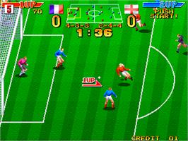 In game image of Dream Soccer '94 on the Arcade.