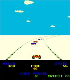 In game image of Driving Force on the Arcade.