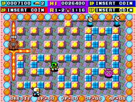 In game image of Dynablaster / Bomber Man on the Arcade.