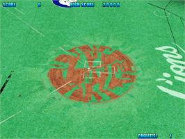 In game image of Dynamite Baseball '99 on the Arcade.