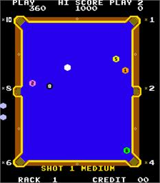 In game image of Eight Ball Action on the Arcade.