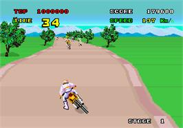 In game image of Enduro Racer on the Arcade.