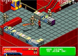 In game image of Escape from the Planet of the Robot Monsters on the Arcade.