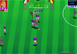 In game image of Euro Champ '92 on the Arcade.