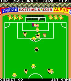 In game image of Exciting Soccer on the Arcade.