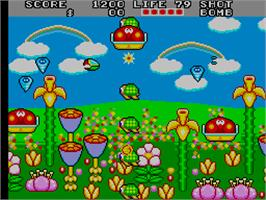 In game image of Fantasy Zone 2 on the Arcade.