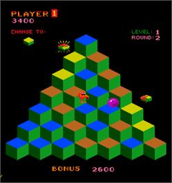 In game image of Faster, Harder, More Challenging Q*bert on the Arcade.