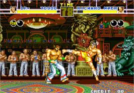 In game image of Fatal Fury - King of Fighters / Garou Densetsu - shukumei no tatakai on the Arcade.