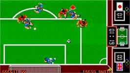In game image of Fighting Soccer on the Arcade.