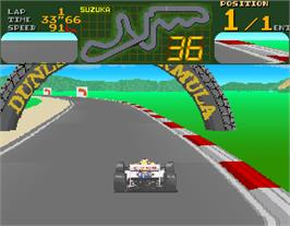 In game image of Final Lap on the Arcade.
