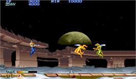 In game image of Forgotten Worlds on the Arcade.
