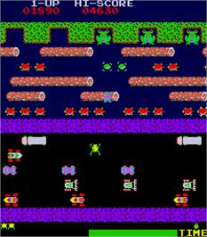 In game image of Frogger on the Arcade.